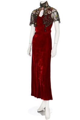 Lot 37-A bias-cut red velvet evening gown, 1930s