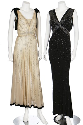 Lot 38-Four bias-cut evening gowns, mainly black, 1930s