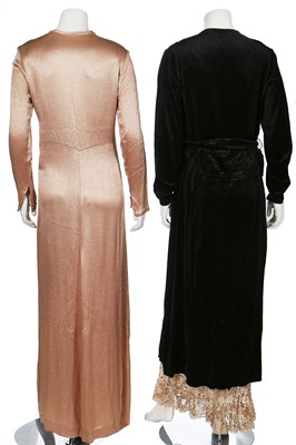 Lot 39-Four evening gowns in shades of peach and silver, 1930s