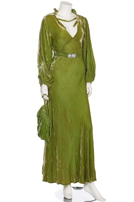 Lot 41-A bias-cut acid-green velvet evening gown, 1930s
