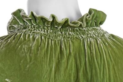 Lot 41-A bias-cut acid-green velvet evening gown, 1930s