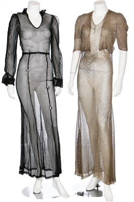 Lot 42-A group of eveningwear in shades of green, black and gold, 1930s