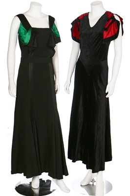Lot 44-A group of red and black evening wear, 1930s