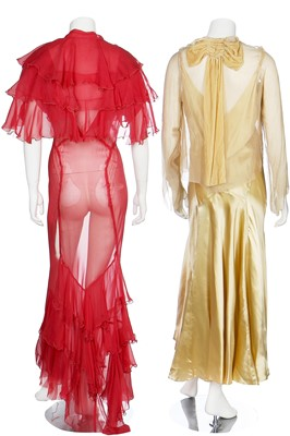 Lot 45-A group of evening wear in shades of pink, yellow and gold, 1930s