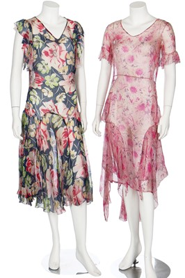 Lot 49-A large group of summer dresses, mainly floral printed, 1930s