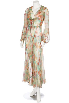 Lot 55-A good bias-cut floral printed chiffon garden-party gown with matching bolero, 1930s
