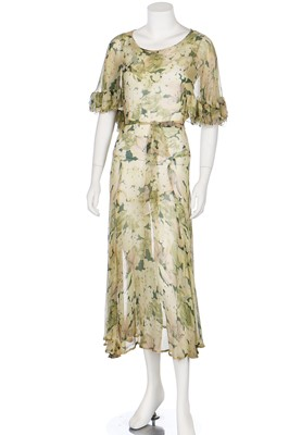 Lot 57-Two bias-cut floral printed chiffon dresses in shades of green, 1930s
