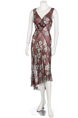 Lot 58-Two bias-cut floral printed chiffon dresses in autumnal shades, 1930s