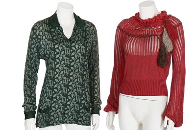 Lot 66-A group of knitwear in autumnal shades, mainly 1930s