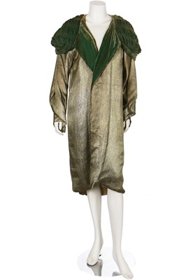 Lot 13-A lamé opera coat with ruched green velvet collar, 1920s