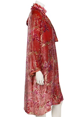 Lot 10-A good printed pink velvet and glitter evening coat, 1920s