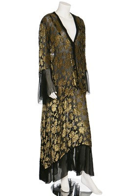 Lot 8-A floral devoré velvet dress in rare larger size, late 1920s