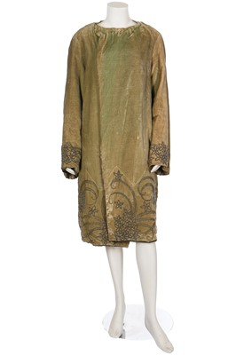 Lot 15-A pale green beaded velvet opera coat, 1920s