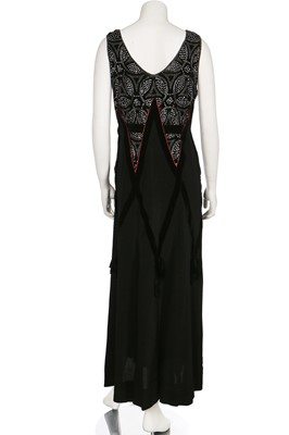 Lot 6-A black silk evening gown with rhinestone-studded velvet bodice, circa 1929