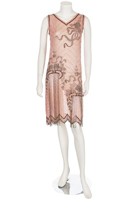 Lot 3-A beaded pale pink crêpe-chiffon flapper dress, mid 1920s