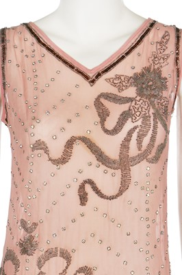 Lot 3-A beaded pale pink crêpe-chiffon flapper dress, mid 1920s