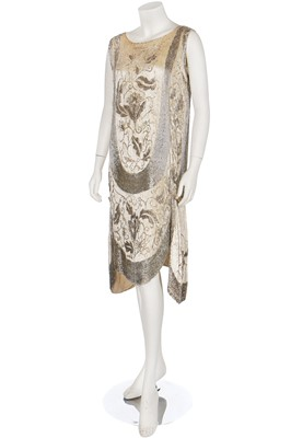 Lot 19-Two ivory beaded flapper dresses, 1920s