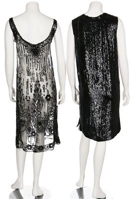 Lot 1-A beaded black chiffon and crêpe evening dress, early 1920s
