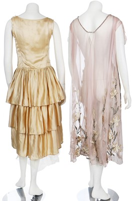 Lot 20-Two ivory satin bridal gowns, 1920s
