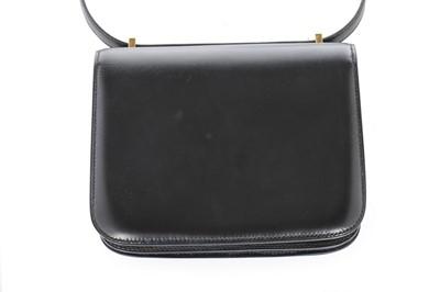 Lot 4 - An Hermès black box leather mini Constance bag,...