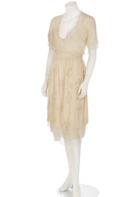 Lot 75-A cutwork ivory chiffon dress, attributed to Chanel, early 1920s