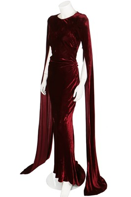 Lot 77-A Molyneux couture burgundy velvet 'gothic' evening gown, circa 1930