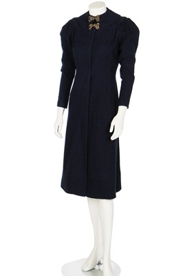 Lot 78-A Maison Worth couture navy wool coat, early 1930s