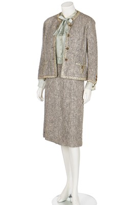 Lot 17-A Chanel couture grey-pink tweed suit, 1960