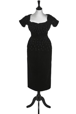 Lot 91-An early Christian Dior couture Spanish-inspired black wool dinner ensemble, probably Autumn-Winter, 1948-49