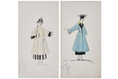 Lot 58-Two Lucile fashion sketches for coats, 1916