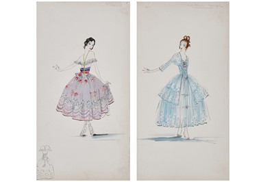 Lot 59-Two Lucile fashion sketches for party dresses, 1916