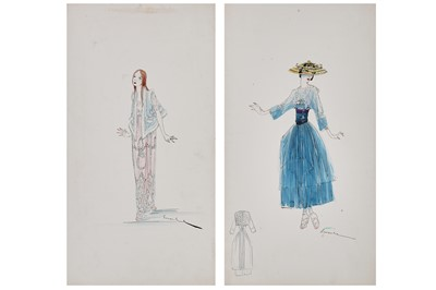 Lot 60-Two Lucile fashion sketches, 1916