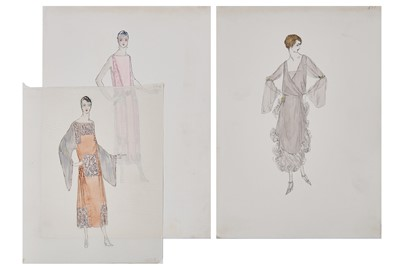 Lot 63-Seven Lucile fashion sketches, early 1920s