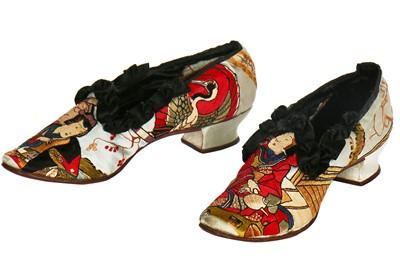 Lot 49-A  fine and rare pair of Luigi Zanotti embroidered Japonisme shoes, Italian, circa 1875