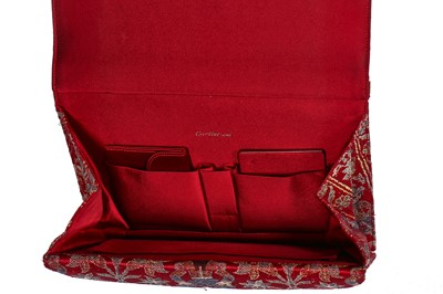 Lot 11 - A Cartier evening bag of Persian-style brocaded silk with 9ct gold frame, 1972