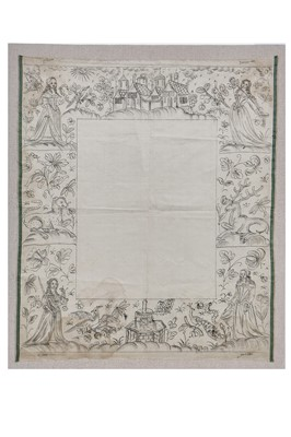 Lot 28-A painted cartoon for a stumpwork mirror of the four Cardinal Values, English, 1660s