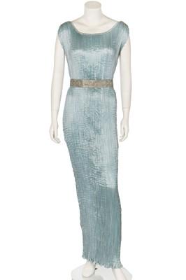 Lot 65-A good Mario Fortuny sky-blue pleated silk Delphos gown, 1920-30
