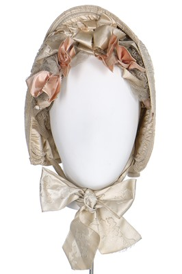 Lot 39-An  ivory silk bonnet and bridal headdress, circa 1845