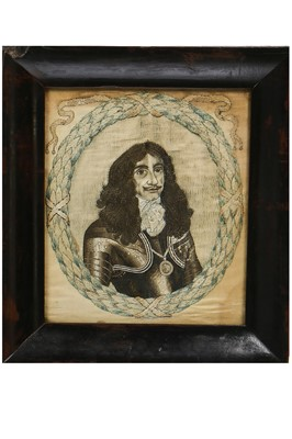 Lot 29-A fine embroidered needle portrait of King Charles II, circa 1660