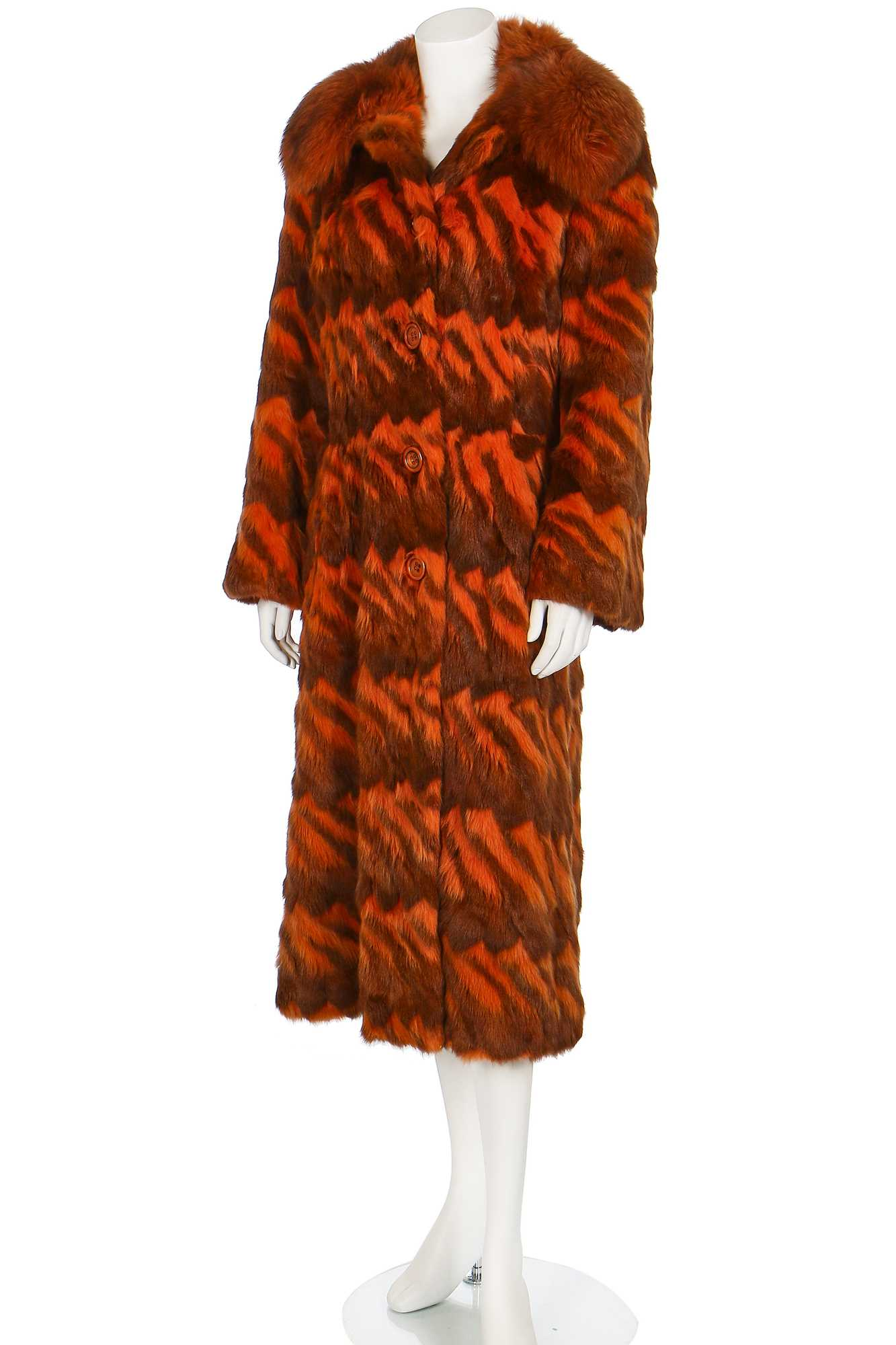 Lot 25 - A good Christian Dior intarsia rabbit and fox fur coat, late 1960s-early 1970s