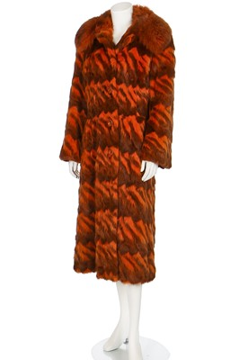 Lot 25-A good Christian Dior intarsia rabbit and fox fur coat, late 1960s-early 1970s