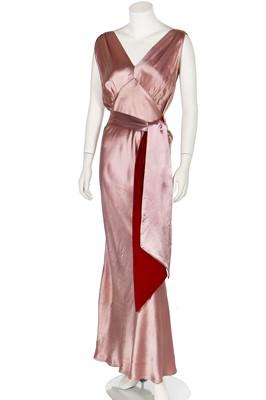 Lot 80-A Chanel Adaptions bias-cut mauve satin evening gown, circa 1935