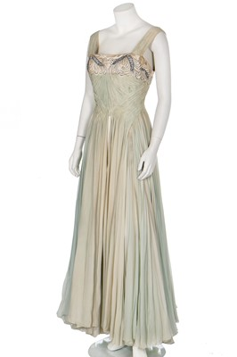 Lot 93-A Carven couture draped chiffon evening gown, early 1950s