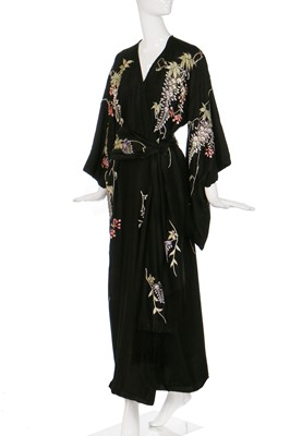 Lot 64-A silk kimono finely embroidered with wisteria, Japanese for the European market, 1910-20