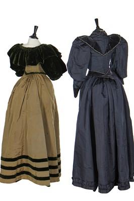 Lot 11 - A midnight-blue velvet gown, circa 1890
