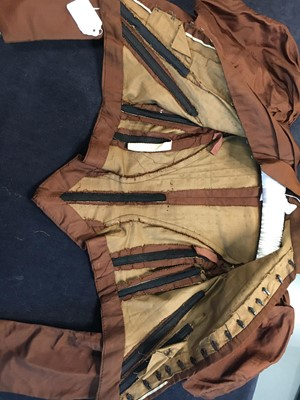 Lot 15 - Three silk gowns in shades of green and brown, 1890s-1910s