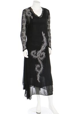 Lot 61 - A black chiffon cocktail dress, early 1930s