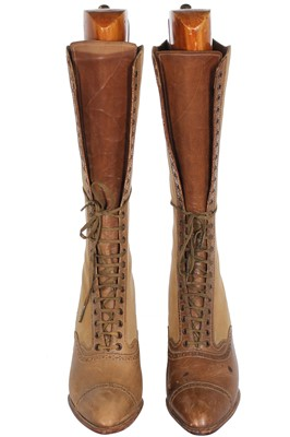 Lot 17 - A pair of Edward Garett & Co. two-tone leather and suede lace-up boots, circa 1900