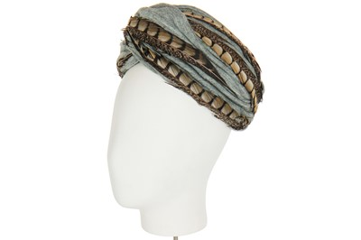 Lot 86 - A Dior turban of wrapped grey-blue knitted jersey, 1950s