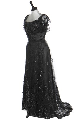 Lot 27 - A black sequinned tulle gown, circa 1911